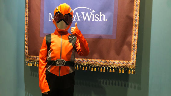 8-year-old Tyler's wish to become the first ever Orange Power Ranger comes true