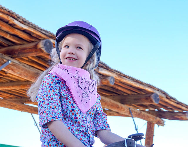 Amelia saddles up for her wish to begin.
