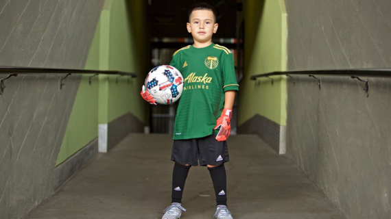 Derrick's wish to play with the Portland Timbers comes true.