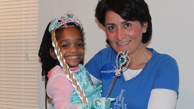 Wish child Brielle with volunteer Tish