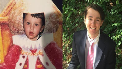 A side-by-side comparison of two photos. The left is of wish alum Dan as a young child; the right is of Dan as a recent college graduate.