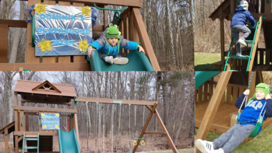 Dominik plays on his wooden playset in his backyard.