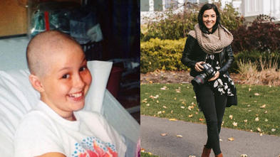 A side-by-side comparison of two photos. The left is of wish alum Emily as a young child undergoing treatment; the right is of Emily in her career as a professional photographer.