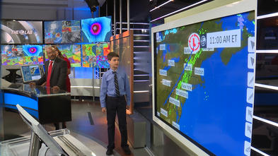 Ryland forecasts the weather live on the Weather Channel.