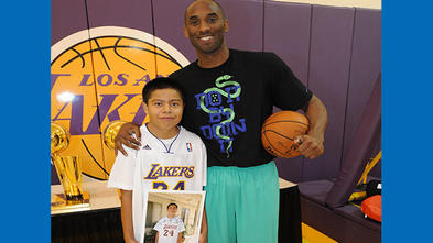 Wish kid David and Kobe Bryant