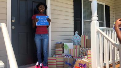 Makyia's wish granters wrapped all her shopping spree gifts