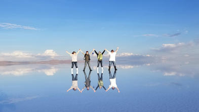 Leo in bolivia at the Salt Water Flats