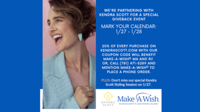 Join us for a promotion with Kendra Scott, January 27 and 28, 2021