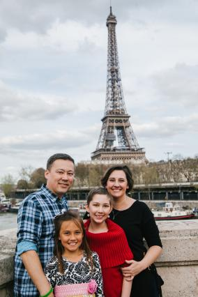 Wish kid Grace and family in Paris