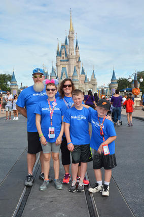 Wish sister and mom Brandy with Family in Walt Disney World