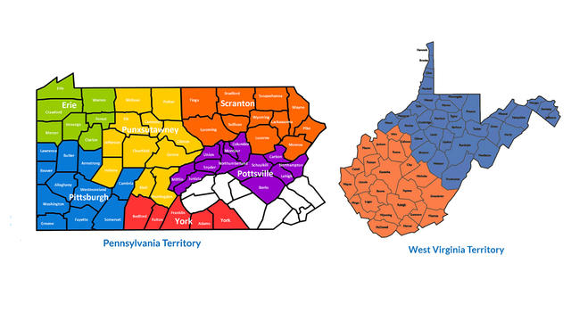 Pennsylvania and West Virginia Territory Maps